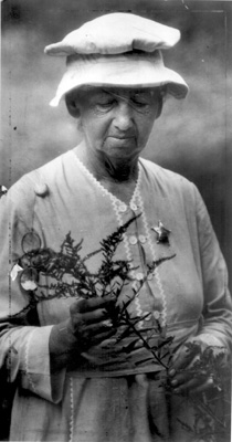 Eloise Butler with sprig of flowers